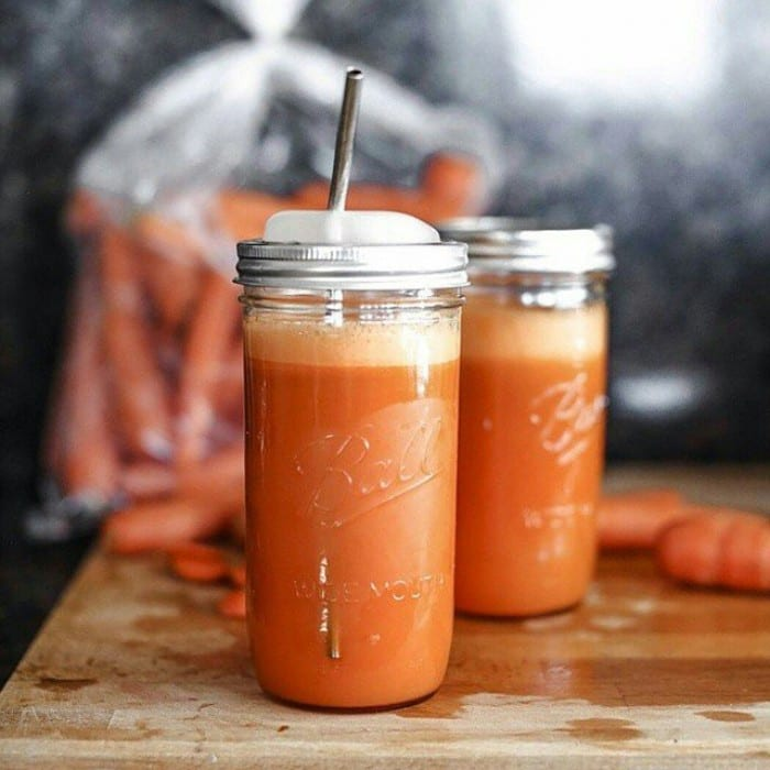 Carrot Smoothie with Fruit and Blueberries