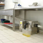 Grease trap in a restaurant kitchen